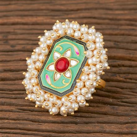 102008 Indo Western Trendy Ring with Gold Plating
