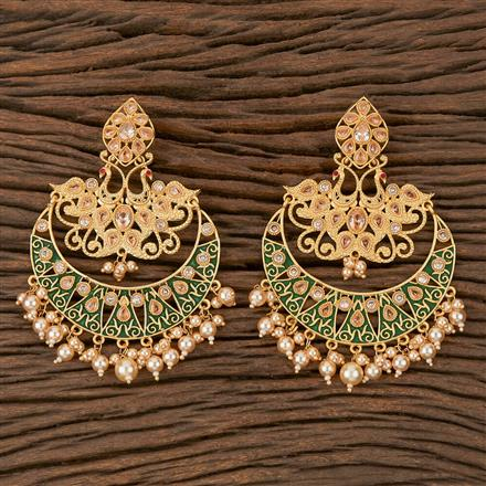 102036 Indo Western Chand Earring With Gold Plating