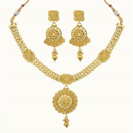 10214 Antique Plain Gold Necklace