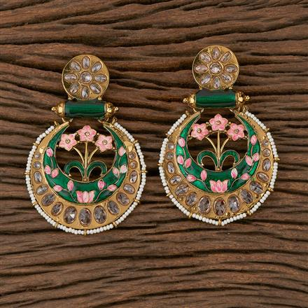 102163 Indo Western Chand Earring with Mehndi Plating