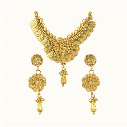 10219 Antique Temple Mangalsutra with gold plating