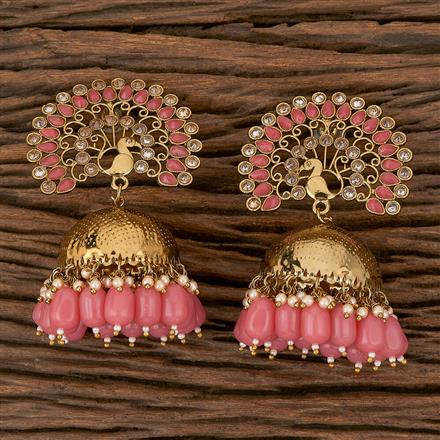 102203 Indo Western Jhumkis With Mehndi Plating