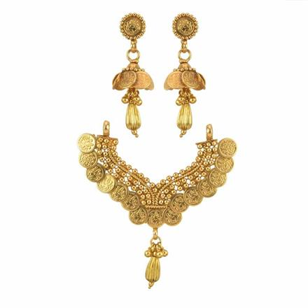 10222 Antique Temple Mangalsutra with gold plating