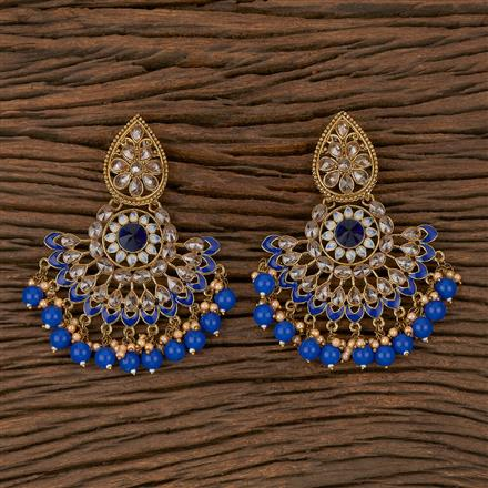 102303 Indo Western Chand Earring With Mehndi Plating