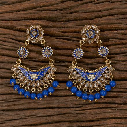 102306 Indo Western Chand Earring With Mehndi Plating