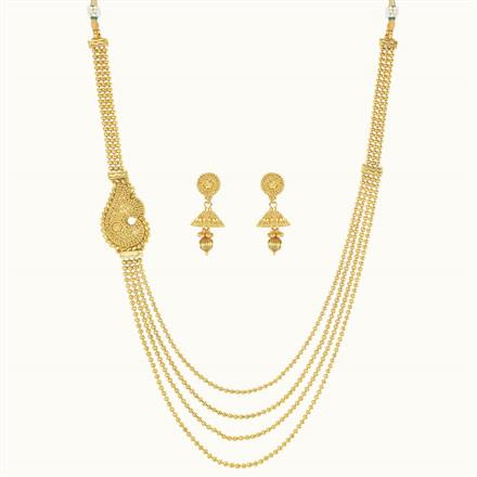 10242 Antique Side Pendant Necklace with gold plating