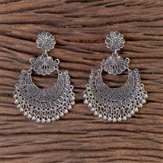 102755 Indo Western Chand Earring With Oxidised Plating