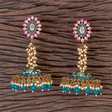 102775 Indo Western Jhumkis With Mehndi Plating