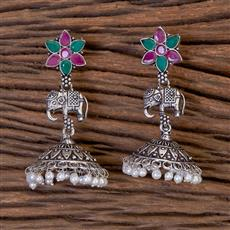 102779 Indo Western Jhumkis With Oxidised Plating