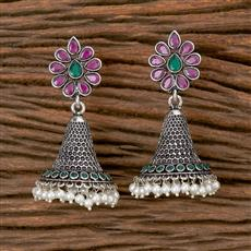 102780 Indo Western Jhumkis With Oxidised Plating