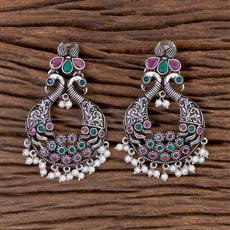 102782 Indo Western Peacock Earring With Oxidised Plating