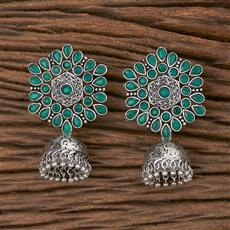 102783 Indo Western Jhumkis With Oxidised Plating