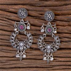 102785 Indo Western Classic Earring With Oxidised Plating
