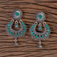 102786 Indo Western Classic Earring With Oxidised Plating