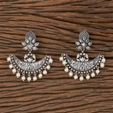 102788 Indo Western Chand Earring With Oxidised Plating