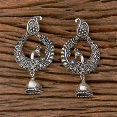 102793 Indo Western Peacock Earring With Oxidised Plating