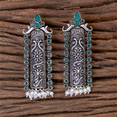102802 Indo Western Classic Earring With Oxidised Plating