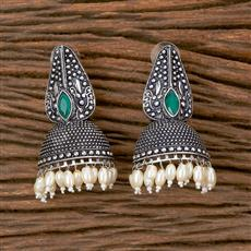 102803 Indo Western Classic Earring With Oxidised Plating