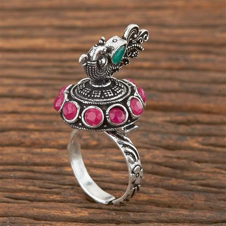 102933 Indo Western Peacock Ring With Oxidised Plating