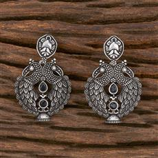 102938 Indo Western Peacock Earring With Oxidised Plating
