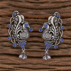102940 Indo Western Peacock Earring With Oxidised Plating