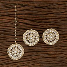 102995 Indo Western Earring Tikka With Gold Plating