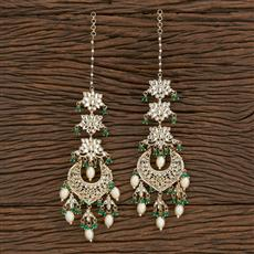103106 Indo Western Chand Earring With Gold Plating