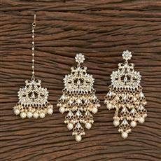 103113 Indo Western Earring Tikka With Gold Plating