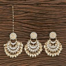 103118 Indo Western Earring Tikka With Gold Plating