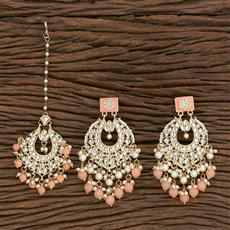 103119 Indo Western Earring Tikka With Gold Plating