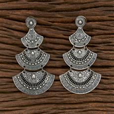 103132 Indo Western Chand Earring With Oxidised Plating