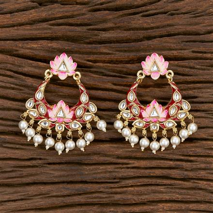 103146 Indo Western Chand Earring With Gold Plating