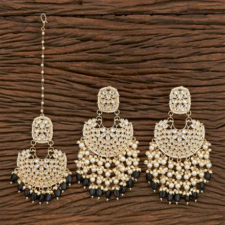 103168 Indo Western Earring Tikka With Gold Plating