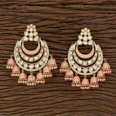 103169 Indo Western Chand Earring With Gold Plating
