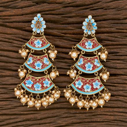 103171 Indo Western Chand Earring With Mehndi Plating