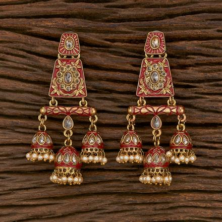 103173 Indo Western Jhumkis With Mehndi Plating