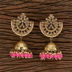 103175 Indo Western Jhumkis With Mehndi Plating