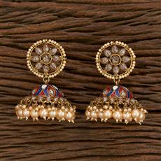 103177 Indo Western Jhumkis With Mehndi Plating