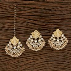 103203 Indo Western Earring Tikka With Gold Plating