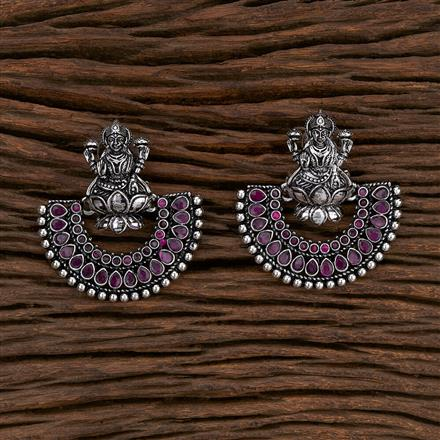 103267 Indo Western Temple Earring With Oxidised Plating