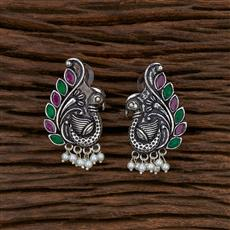 103283 Indo Western Peacock Earring With Oxidised Plating