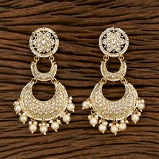 103386 Indo Western Chand Earring With Gold Plating