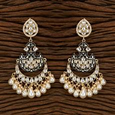 103387 Indo Western Chand Earring With Gold Plating