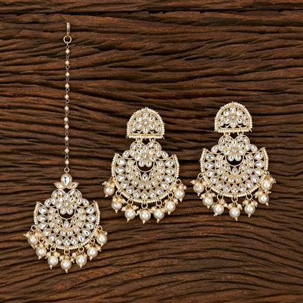 103394 Indo Western Earring Tikka With Gold Plating