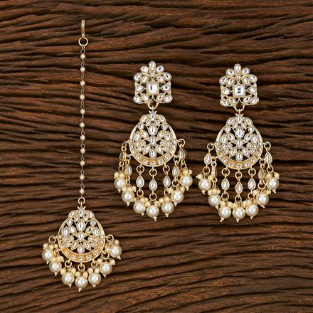 103395 Indo Western Earring Tikka With Gold Plating