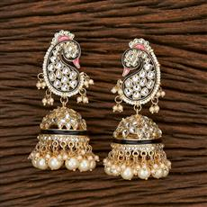 103413 Indo Western Peacock Earring With Gold Plating