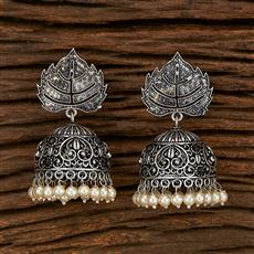 103419 Indo Western Jhumkis With Oxidised Plating