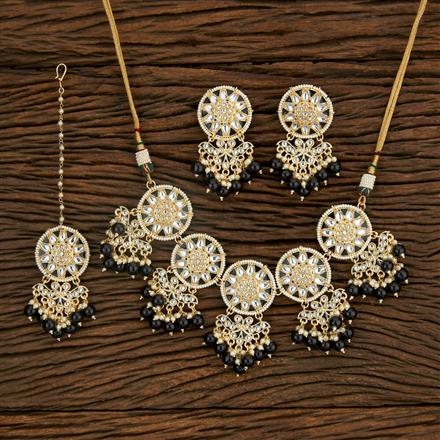 103439 Indo Western Meenakari Necklace With Gold Plating