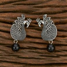 103553 Indo Western Peacock Earring With Oxidised Plating