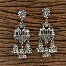 103554 Indo Western Classic Earring With Oxidised Plating